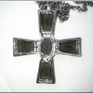 Chico's Jewelry - Olive Green Crystal Cross Statement Necklace